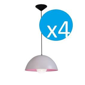 Pack X 4 Lampara Colgante Chapa Varios Colores 30 Cm