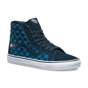 Tênis Vans Sk8 Hi Reissue Stitch Checkers Blue Masculino.