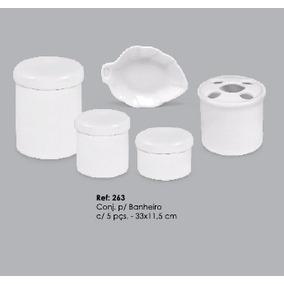 Conjunto P/banheiro Com 05 Peças Em Porcelana Branca