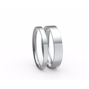 Par De Argollas De Matrimonio De Oro Sólido 14k Planas
