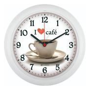 Relógio De Parede Eurora Cozinha Café Branco 6586