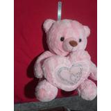 Peluche Oso Rosa Con Corazón - 46 Cm Sentado
