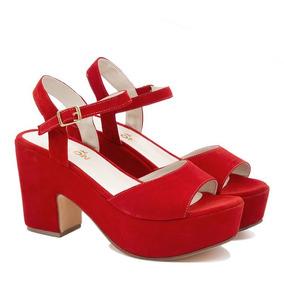 e5d4619f9f524 Sandalias Plataforma Madera Verano 37 Color Rojo - Zapatos de Mujer ...