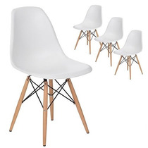 Kit 4 Cadeiras Charles Eames Wood Preta Ou Branca - Nova