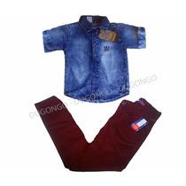 Conjunto Jeans Infantil Menino Camisa + Calça