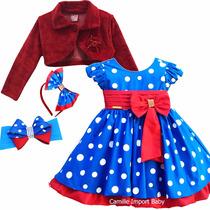 Vestido Infantil Poa Azul Galinha Pintadinha Bolero E Tiara