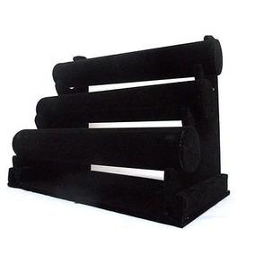 Exhibidor Para Pulsera De 3 Paneles De Terciopelo Negro