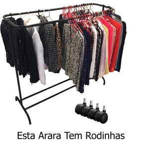 Arara Dupla Roupas Sapateira Rodinhas Cabideiro 200 Cabides