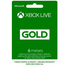 Cartão Xbox Live Gold Assinatura 6 Meses Xbox One E 360 Br