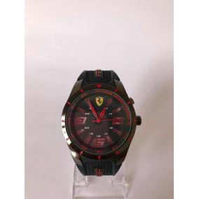 Reloj Ferrari Negro Con Rojo Para Caballero Con Luz