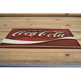 Placa Alto Relevo Coca Cola Quadrada Bebidas Bares 60cm