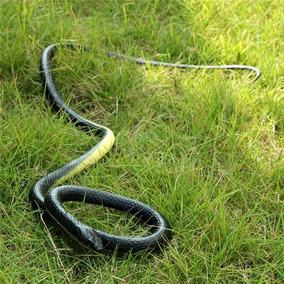 Cobra Serpente Preta Realista Em Borracha