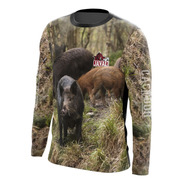 Camiseta Caçador Pesca M/ L Porcada Java Ref 02 Dryfit Uv50+