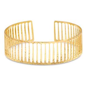 Bracelete Semijoia Gride Pulseira Semijoia Banhado Ouro 18k