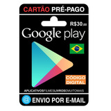 Cartão Pré Pago - Google Play Online R$30, Promoção#