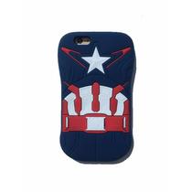 Funda Goma Botarga 3d Capitan America Pecho Iphone 6 6s
