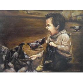 Pintura Óleo Sobre Tela- Alimentando Os Pombos