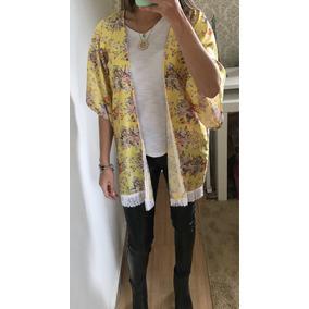Kimono Saída De Praia Amarelo E Franjas Moda Fashion Verão