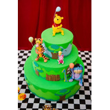 Frete Grátis Decoração Bolo Fake Urso Pooh Aniversário