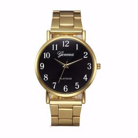 Relógio Geneva Feminino Dourado Luxo Barato Promoção