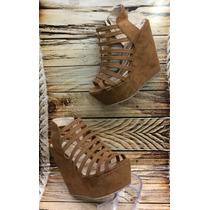 Zapato Sandalia Moda Plataforma Color Miel Cafe Mujer Dama