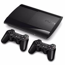 Ps3 Super Slim 320 Gb C/ Fifa17 +65 Jogos No Hd+2 Controles