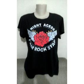 Camiseta Blusa Tshirt Feminina Manga Curta Rock Roqueira