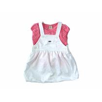 Vestido Sarja Com Camisa - Din Don - Bege/rosa