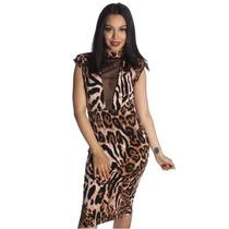 Lefash - Vestido De Leopardo Tortuga Cuello V-mesh S
