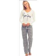 Pijama Manga Longa Feminino Ref - 14077