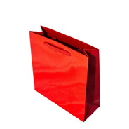 Bolsa Cartulina Roja Laminada 30x9x30 Con Manija X50