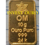 Barra De Ouro 24k 10 Gramas Ouro Minas