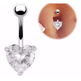 Piercing De Coração Umbigo Anti-alérgico Prata Aço Inox 316l
