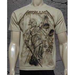 Camiseta De Banda - Metallica - Especial Malha Bege