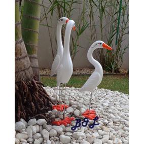 Enfeite Jardim Trio Garças Em Cerâmica