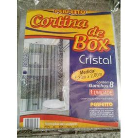 Cortina Banheiro Box Cristal 2m X 1,38m Ganchos Transparente