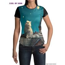 Camisetas Estampa Digital Gato No Telhado