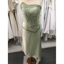 Vestido De Fiesta De Color Verde Claro Bordado A Mano Corto