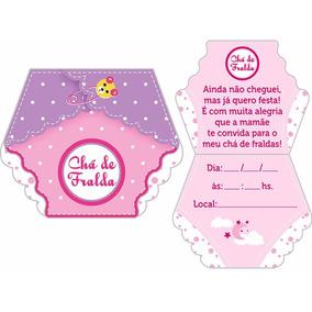 10 Convites Chá De Fralda Bebê Menina Rosa ( Menor Frete )