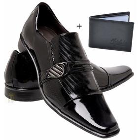 Sapato Social Masculino Salto Baixo De Couro