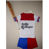 Kit Fantasia Arlequina Infantil Camiseta+ Short + Taco