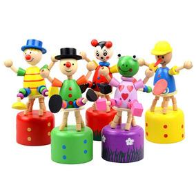 Palhaço De Madeira Retro Palhacinho Brinquedo
