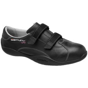 Sapato De Segurança Feminino Em Couro Estival Lady - Preto