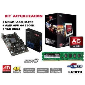 Kit Actualizacion Amd Apu A6 7400k + 4 Gb Ddr3 + Mb Msi
