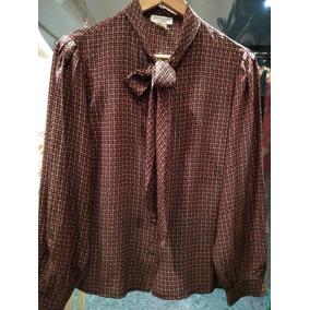 Camisa De Seda Con Moño