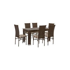 Conjunto Sala De Jantar Decorart Mesa Tampo Vidro 6 Cadeiras