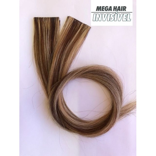 Megahair Invisivel Fita Adesiva Loiro Mechado  50cm -06p?as