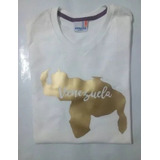 Franela Mapa De Venezuela Vinil Textil Dorado Personalizable