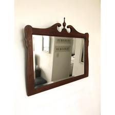 Espejo Antiguo Ingles Victoriano De  Sala Biselado Roble