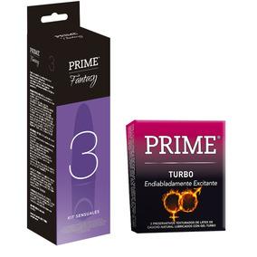 Combo Prime Kit Fantasy 3 Vibrador + Preservativos Turbo X3